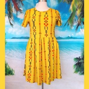 LulaRoe Amelia Dress Yellow Print 3XL